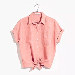 Madewell Red End On End Tie- Front Button-Down M